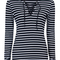 Black V-neck Lace Up Front Striped Long Sleeve Tight Top