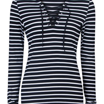 24eced445f Black V-neck Lace Up Front Striped Long from Midnight Bandit