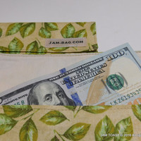 Fabric Cash Envelope (Coupon Organizer) Green Leaves on Beige - Fabric Envelope, Receipt Holder, Money Envelope, Cash Envelopes, Cash Budget