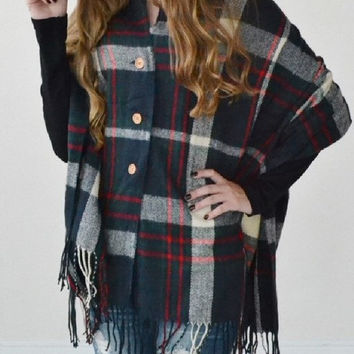 Blue Plaid Fringe Blanket Poncho with 3 buttons, fall, winter, plaid, buttons, fun, trendy, fashion, adorable, eyecandie