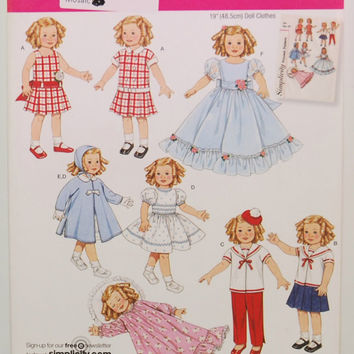 "Simplicity 2770 19"" Doll Clothes (c. 2005) Vintage Pattern Vintage Style Doll Clothes, Doll Dress, Fancy Dress, Sailor Style Clothes, PJ's"
