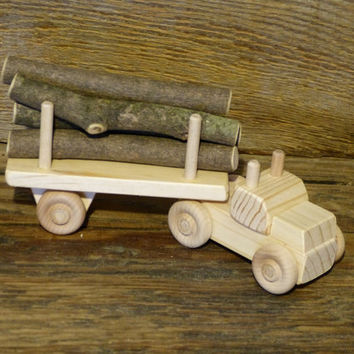 Handmade Wood Toy Log Truck Wooden Toys