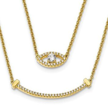 Sterling Silver Yellow Gold-Plated Double Strand CZ Eye & Bar Necklace