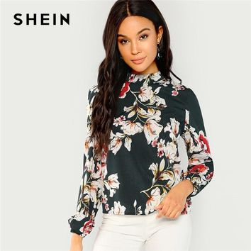 SHEIN Green Elegant Office Lady Floral Print Mock Stand Collar Long Sleeve Blouse Highstreet Women Tops And Blouses