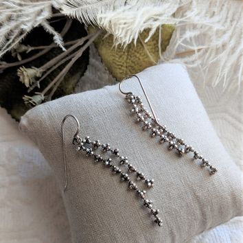 Sterling Silver Signed Double Caviar Chain Drop Dangle Earrings