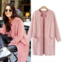 Pink Cardigans Women Sweater Coat Autumn Knitted Sweaters With Pockets Clothing