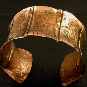 Giant raised, fold formed copper cuff