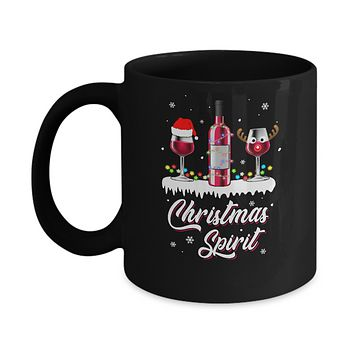 Christmas Spirits Santa Hat Wine Funny Christmas Gifts Mug