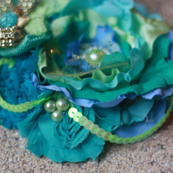 BEACH HEADBAND, under the sea, mermaid, starfish, blue, green, teal, over the top, baby girl, toddler, photo, gold, birthday, m2m, aqua
