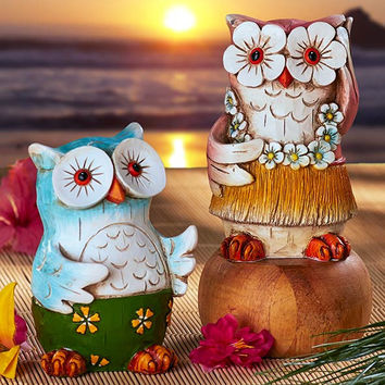 Owl Figurines Night Light Hawaiian Hula Wood Look Ceramic