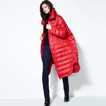 [AIGYPTOS-FLA]High Quality Winter Women Plus Size Ultra Loose 90% White Duck Down Lacing Irregular Long Jackets Outerwear