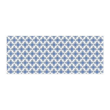 "Carolyn Greifeld ""Bohemian Blues III"" White Blue Bed Runner"