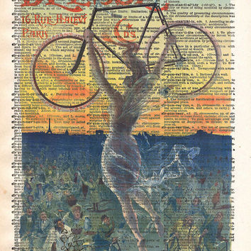 Beautiful girl, vintage bicycle art, dictionary page print