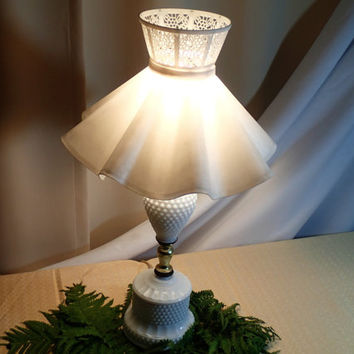 Dresser Bedside Lamp Hobnail Milk Glass Boudoir Lamp with textured plastic Ruffle Shade, Cottage Chic, Girls room lamp