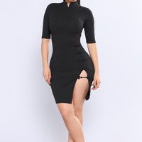 Kiko High Side Slit Dress - Black