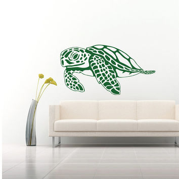 Wall Decal Vinyl Sticker Decals Art Home Decor Design Mural Turtle Tortoise Tortoiseshell Water Sea Animal Swim Fashion Bedroom Dorm AN376