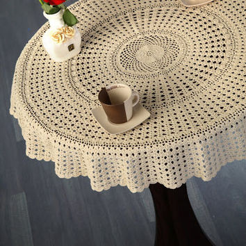 Vintage Design CROCHET TABLECLOTH-  Handmade Crochet Table Linen- Home and Wedding Decor