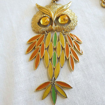 Vintage Orange, Yellow & Green Enamel Articulated OWL Pendant Necklace with Topaz Glass Cabochon Eyes
