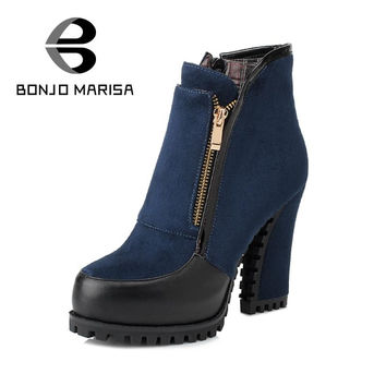 BONJOMARISA 2016 New Snow Boots Women Thick High Heels Add Fur Shoes Woman Zipper Chelsea Boots Cowboy Platform Winter Shoes