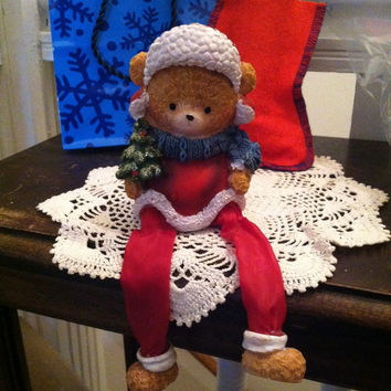Christmas Bear Shelf Sitter Bear Dressed in Red White and Green Holding a Christmas Tree Vintage Bear Fireplace Sitter Holiday Home Decor