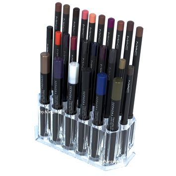 Acrylic Eye/Lip Liner Organizer & Beauty Care Holder Provides 26 Space Storage | byAlegory