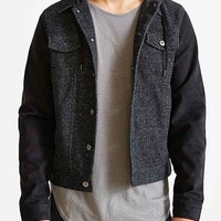 The Narrows Suede-Sleeve Hooded Trucker Jacket- Grey