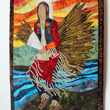 Native American Traditional Dancer, Mens Regalia, art quilt,
