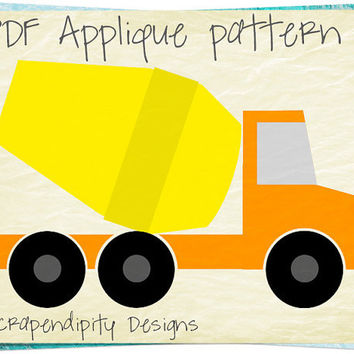 Cement Truck Applique Pattern - Construction Applique Template / Baby Nursery Quilt / Kids Boys Truck Shirt / Road Wall Hanging AP232-D