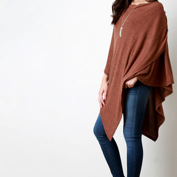 Loose Knit Asymmetrical Pleated Poncho Top