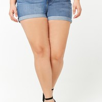 Plus Size Cuffed High-Rise Denim Shorts
