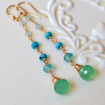 NEW Long Gemstone Earrings, Turquoise Apatite and Chalcedony, Blue and Green, Wire Wrapped Onion, Gold Jewelry, Free Shipping
