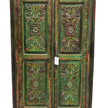 Rajasthani Green Almirah Armoire Media Cabinet - hand Carved antique Furniture vintage indian