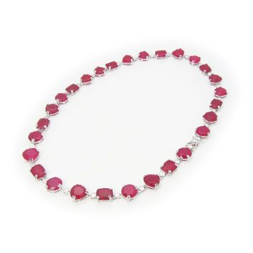 """Fronay Co .925 Sterling Silver Simulated Red Ruby Statement Necklace, 17"""""""