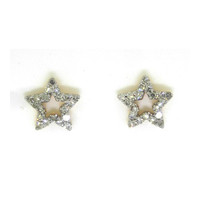 14k Yellow Gold 0.28Ctw Round Diamond Ladies Fashion Star Earrings: Earrings