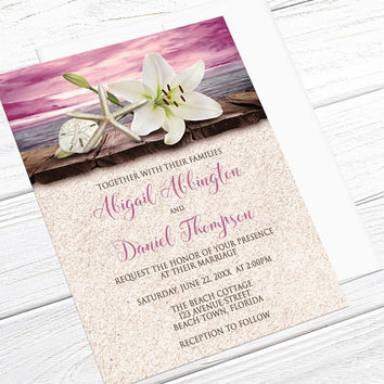 Beach Wedding Invitations - Lily Seashells and Sand, Magenta Pink Purple Beige - Destination Wedding, Tropical Wedding - Printed Invitations