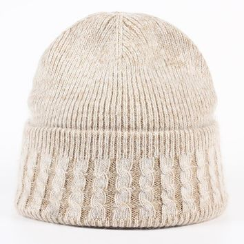 Winter mink Fur Bobble caps Hat for women Men cashmere wool cotton Hats Large natural fur raccoon Warm cap