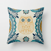 BOHO Owl Throw Pillow by rskinner1122