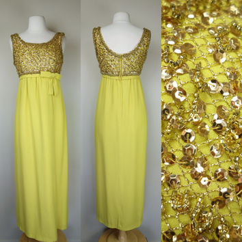 1960s yellow cocktail dress w gold beading and sequins maxi sleeveless dress, rayon bow empire waist, maxi floor length formal Medium, 8
