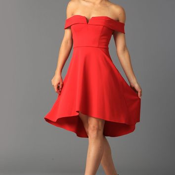 Teeze Me | Off-The-Shoulder High Low Dress  | Red