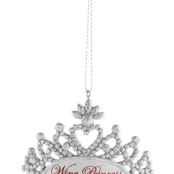 "Christmas Ornament - Silver  "" Wine Princess ""  Tiara"