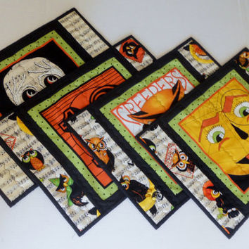 Halloween Placemats Reversible Set of Four Black White Owl Pumpkin, Skeleton, Lucky Thirteen