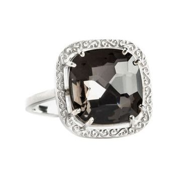 Suzanne Kalan Sterling Silver 12mm Cushion-Cut Black Quartz Filigree Bezel Ladies' Ring