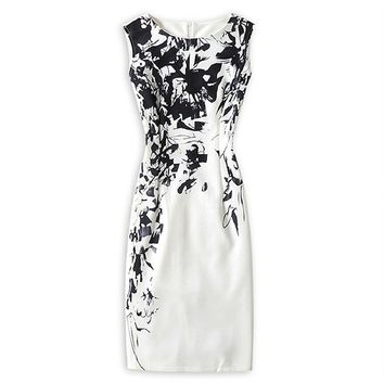 Women's Sleeveless Work Style Sheath Knee-Length Print Pack Hip Party Dress.
