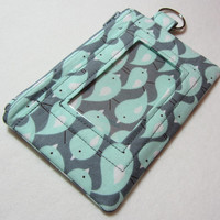 Keychain Wallet with ID Pocket and Split Ring in Cute Bird themed fabric in Aqua and Gray