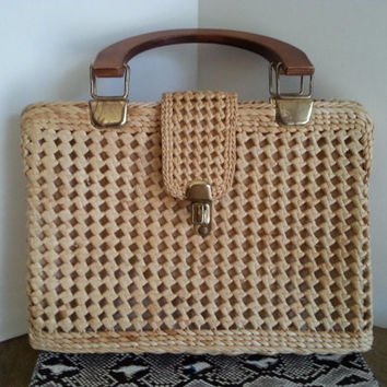 Italian Vintage Wicker Handbag, By Magid Large Purse, Mid Century Bag 11 x 15 Inches
