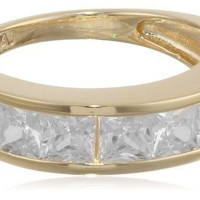 18k Yellow Gold Plated Sterling Silver Princess Cut Cubic Zirconia Ring (2 cttw), Size 8