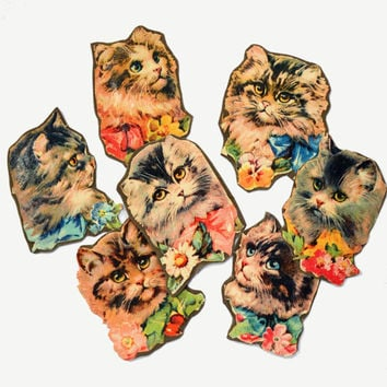 Seven vintage cat decoupage scraps or embellishments, for collage, badge-making, scrapbooking, altered art