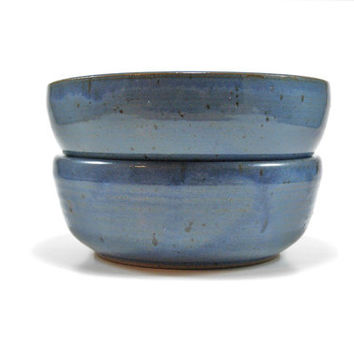Set of TWO pottery bowls, blue soup bowl, stoneware cereal bowls, rustic kitchen bowl, pottery stacking bowls, ice cream bowl, ready to ship