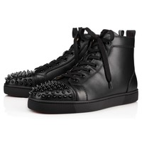 Christian Louboutin Lou Spikes Men's Women's Flat Black Leather 1151061B049