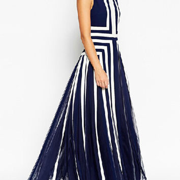 Navy Geo Pattern Sleeveless Mesh Overlay A-Line Pleated Maxi Dress